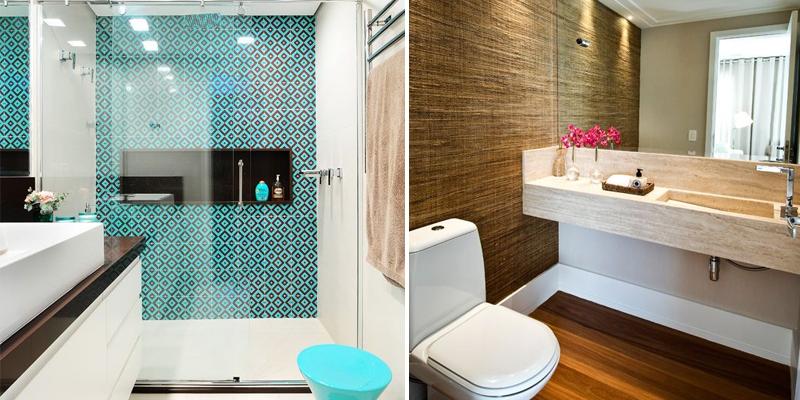 Solution Sempre – Película, Fumê, Adesivos e Papel Parede em Fortaleza  Fumê -> Banheiro Moderno Com Papel De Parede